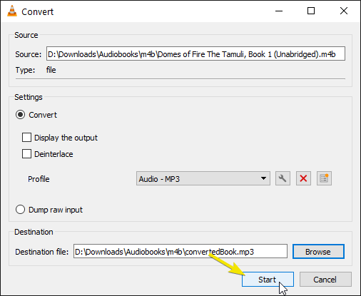 Convert m4b to mp3 click start in the vlc convert window