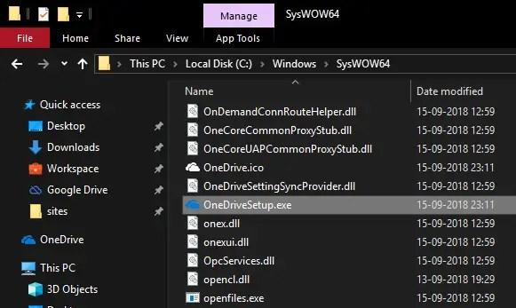 Onedrive setup file in file explorer