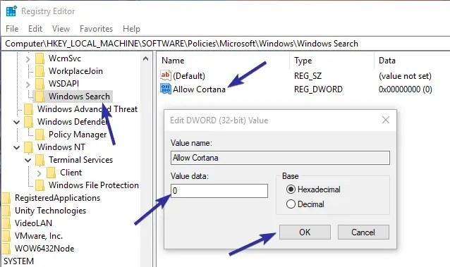 Disable cortana registry editor