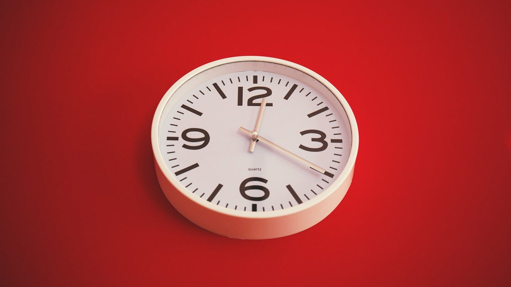 Clock red background