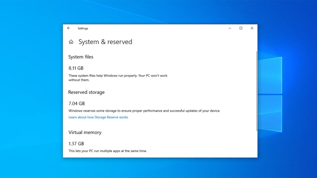 Disable reserved storage on windows 10