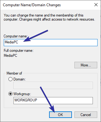 Change computer name windows 10 08