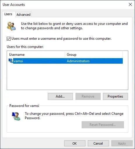 Delete user account windows 10 14