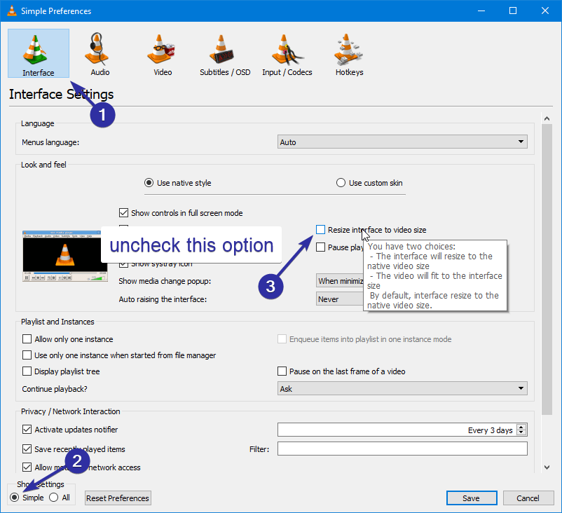 How to Stop VLC Media Player from Automatically Resizing