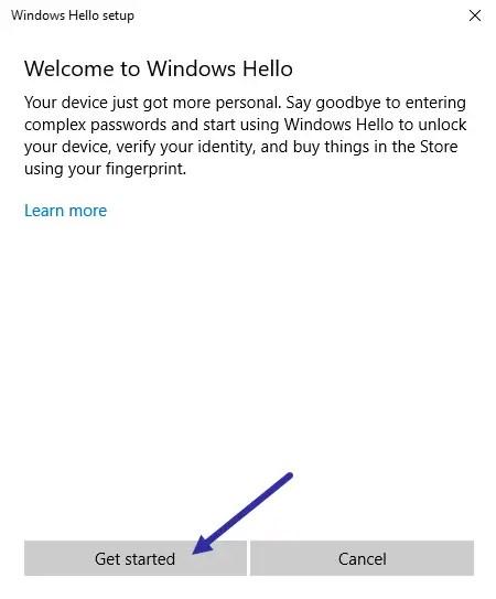 02 add fingerprint in windows 10