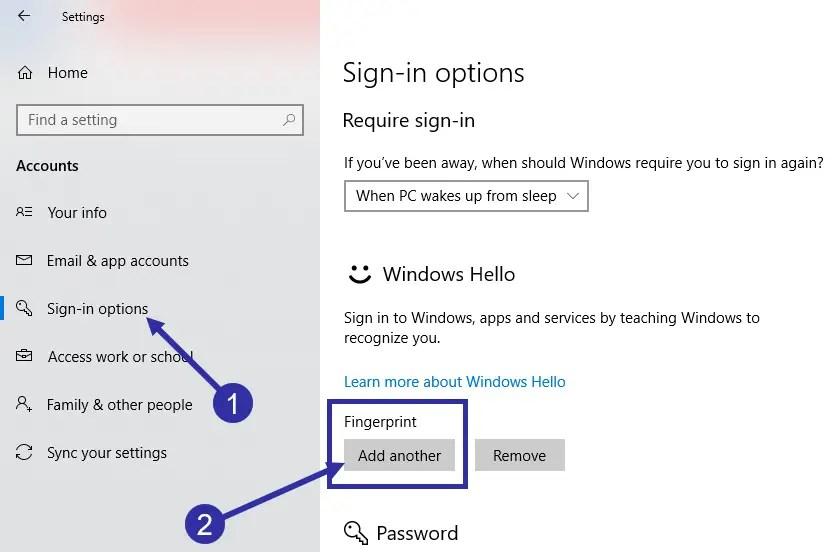 06 add another fingerprint in windows 10