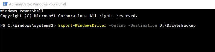 Powershell command to backup drivers 02