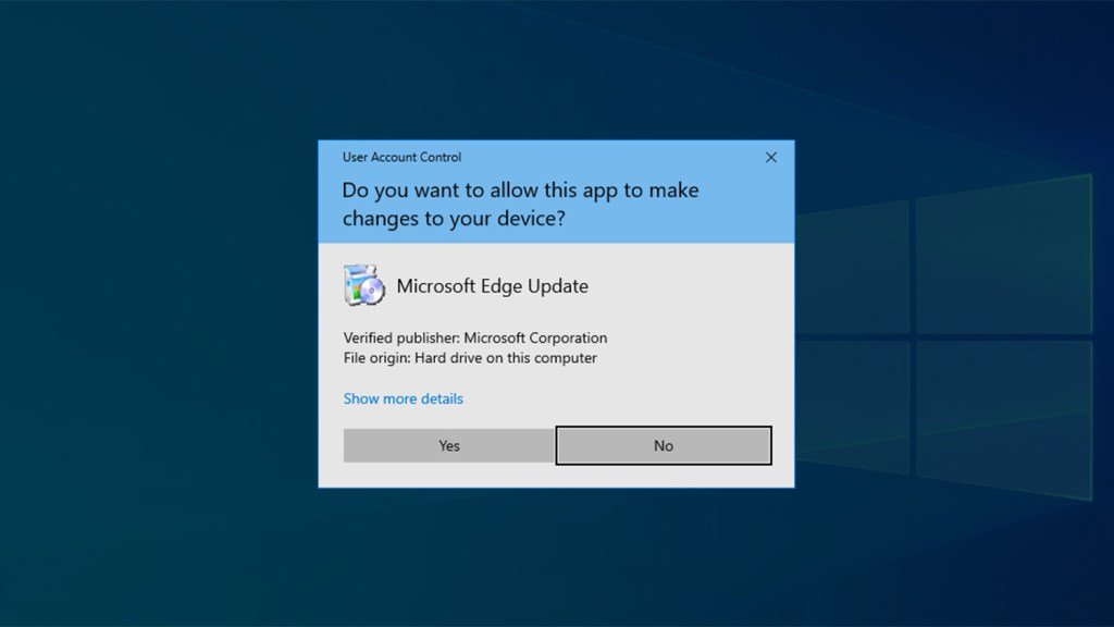 User access control prompt windows 10