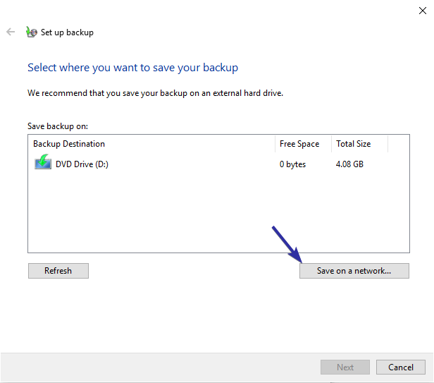 Windows 10 backup to network drive 03