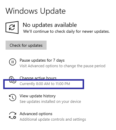 Windows 10 active hours 05
