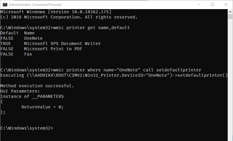 Windows default printer 09