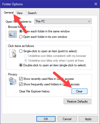 Clear recent files in win10 - click clear button