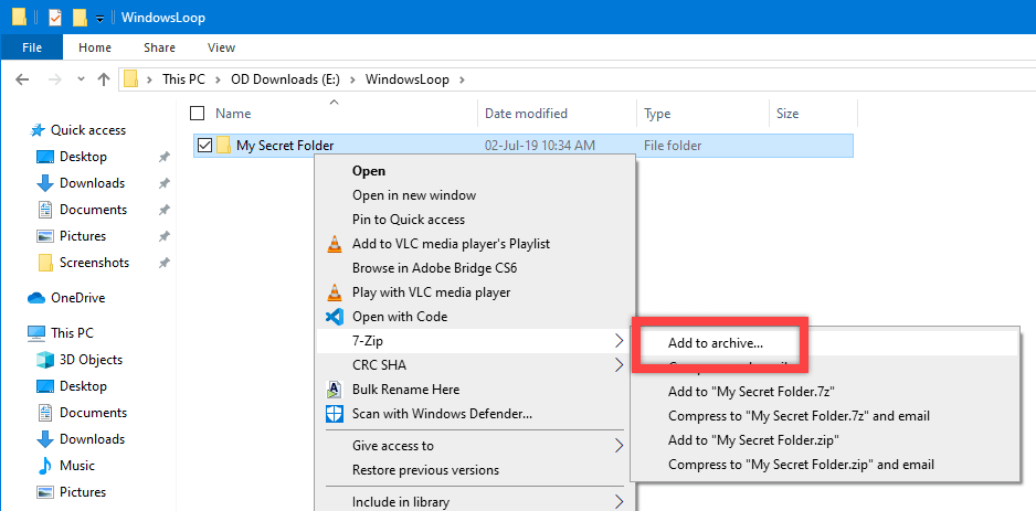 Password protect zip file - select add to archive option