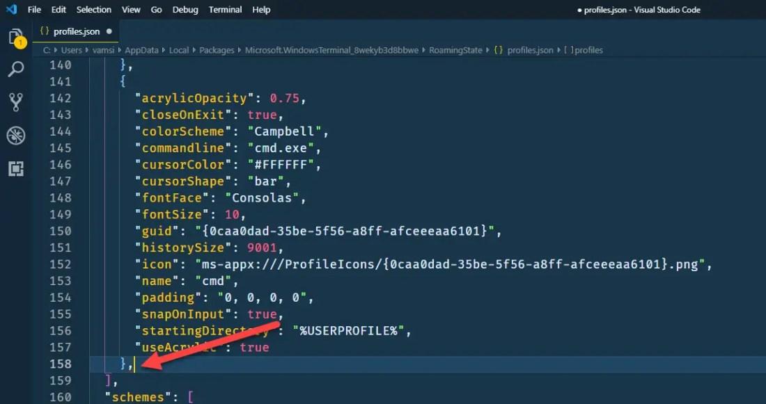 Ubuntu in windows terminal - add a comma at the end