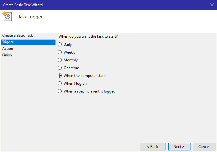 Win10 display message task scheduler - select trigger