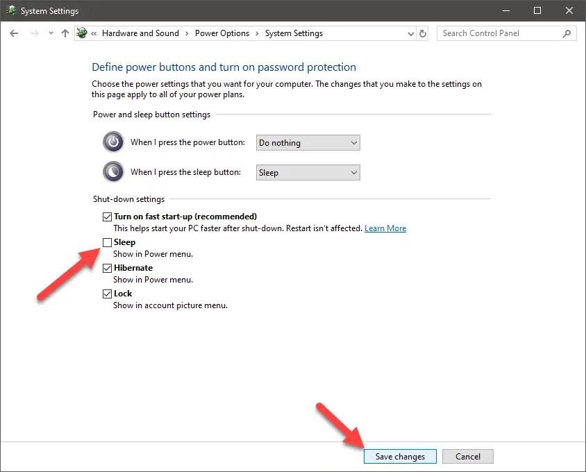 Windows 10 start menu sleep option - 04 - uncheck sleep option