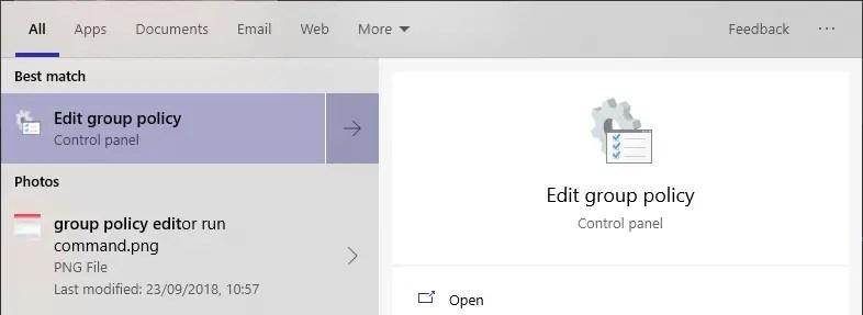 Windows 10 start menu sleep option - 08 - open group policy editor