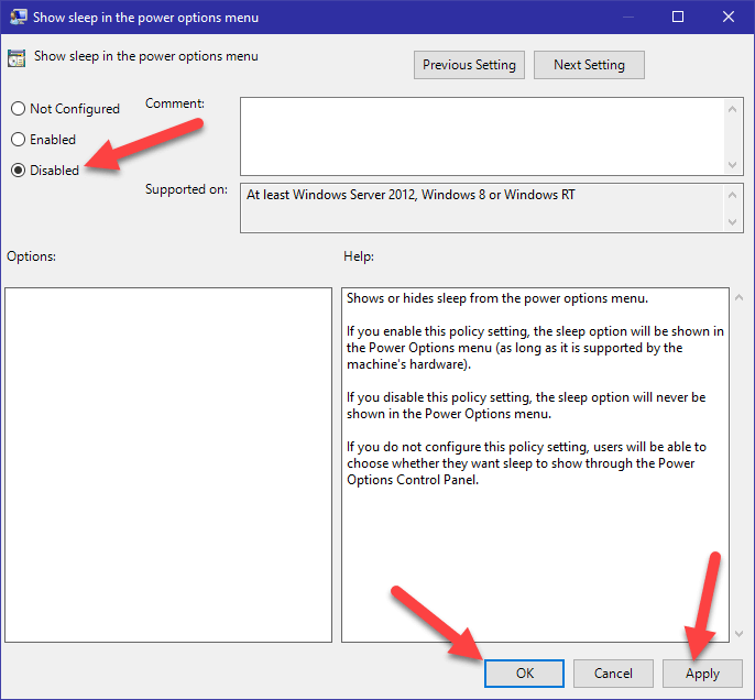Windows 10 start menu sleep option - 11 - disable policy