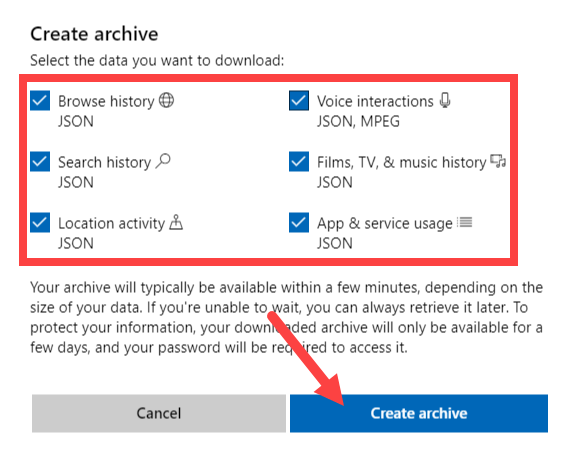 Download perosnal data from microsoft - click create archive button 2