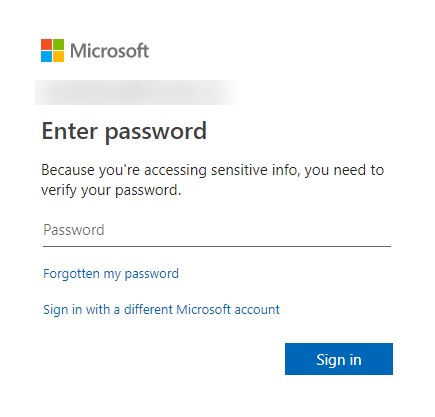 Download perosnal data from microsoft - enter password