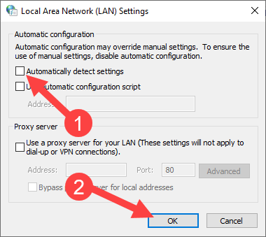 Fix chrome waiting for proxy tunnel - uncheck automatic settings option