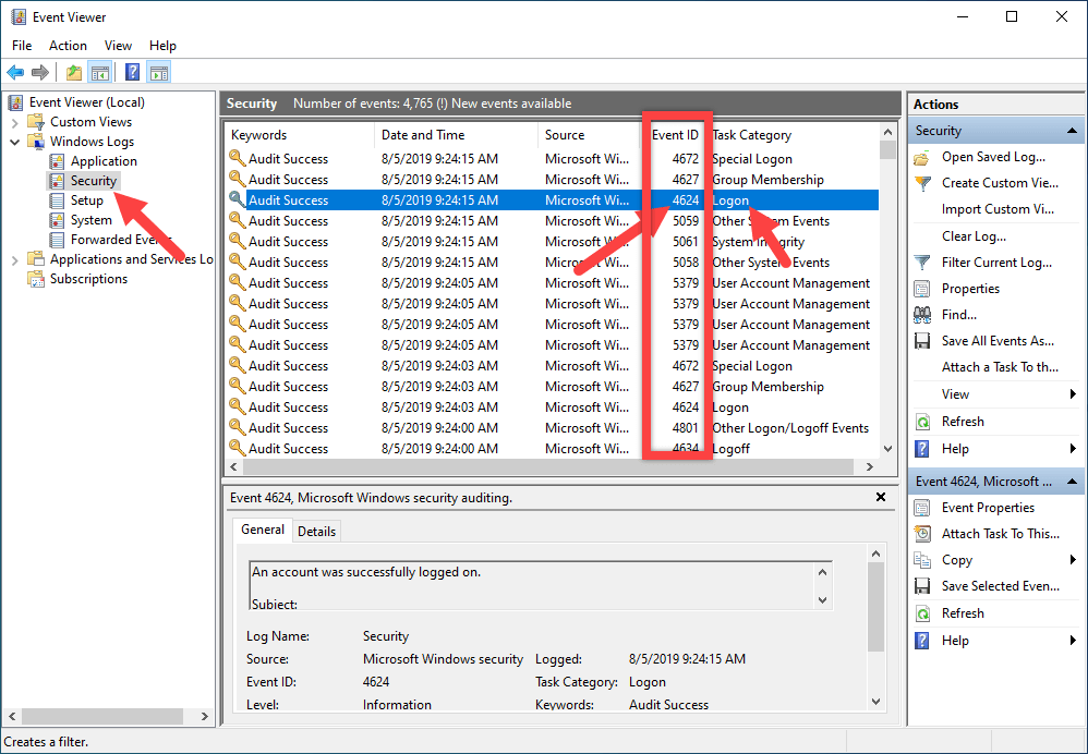 Log login and shutdown activities - logged items