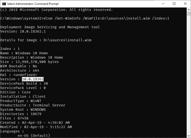Win 10 iso version build number - command results