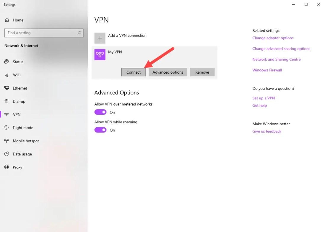 Windows vpn options - click connect button under vpn connection