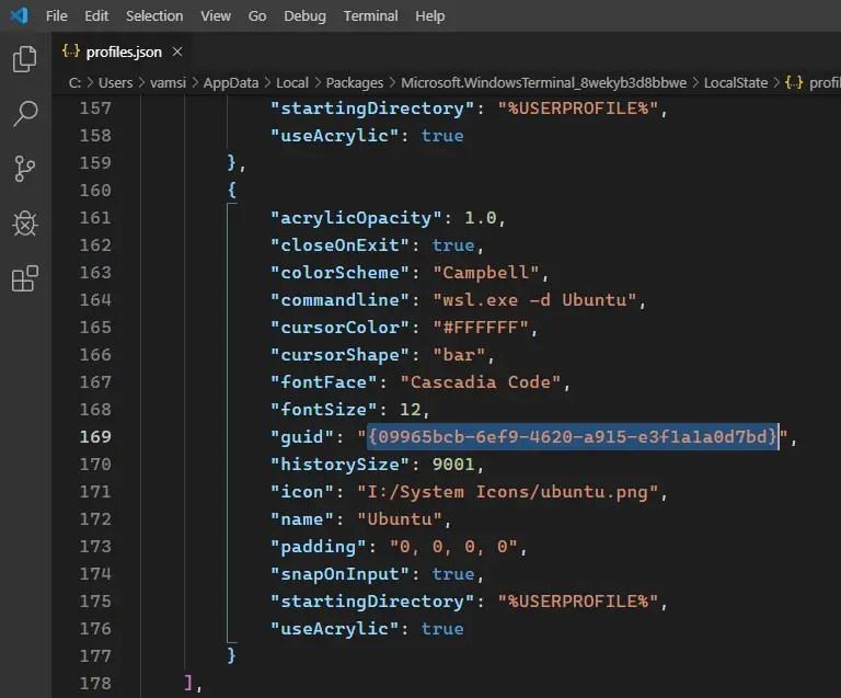 Change-default-console-windows-terminal-copy-guid