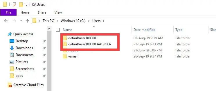 Defaultuser100000-folder