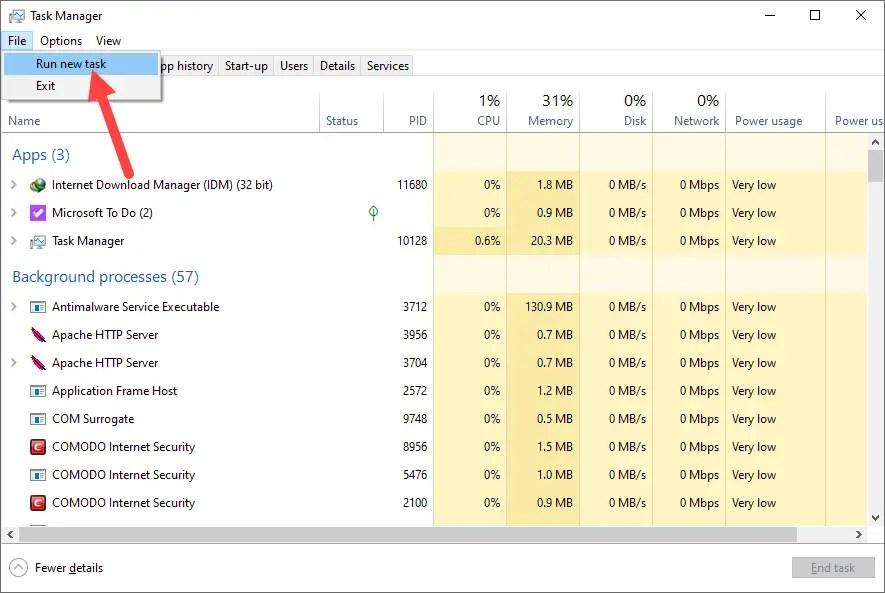 Fix drag and drop win 10 - select run new task