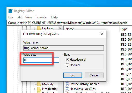 Disable-start-menu-web-results-windows-10-set-value-data-2