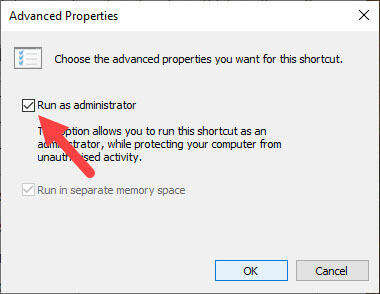 Elevated-command-prompt-shortcut-select-run-as-administrator-checkbox