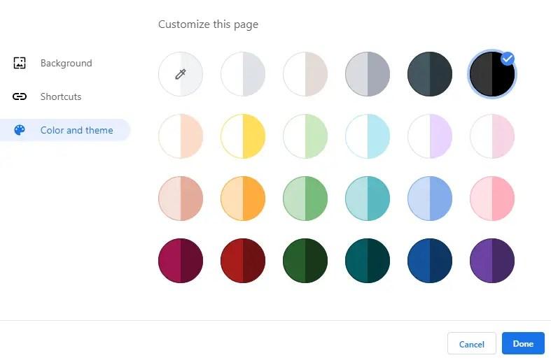 Make-google-chrome-theme-select-color-scheme
