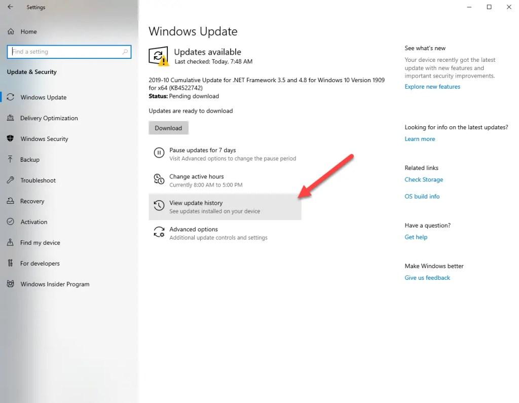 Uninstall-windows-10-updates-view-updates