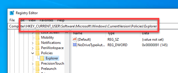 Clear-recent-documents-windows-go-to-registry-folder
