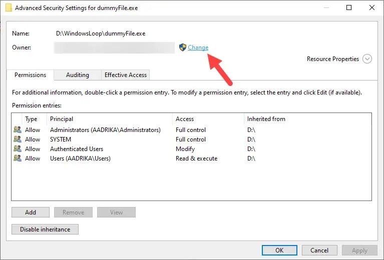 Restore-trustedinstaller-windows-click-change