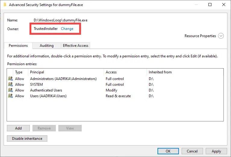 Restore-trustedinstaller-windows-owner-set