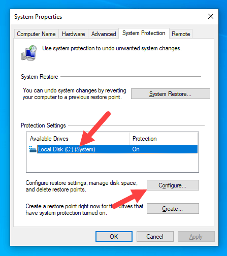 Delete-old-restore-points-windows-click-configure