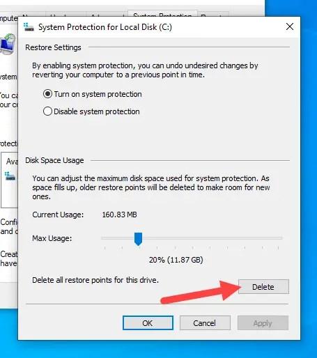 Delete-old-restore-points-windows-click-delete