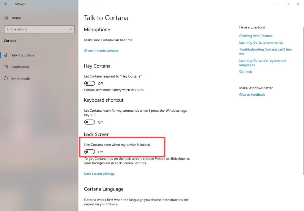 Disable-cortana-on-lock-screen-windows-10-settings-app