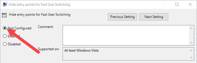 Disable-fast-user-switching-windows-10-select-not-configured