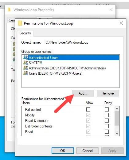 Restrict-folder-access-windows-click-add
