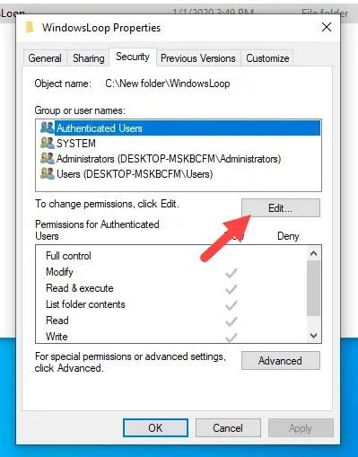 Restrict-folder-access-windows-click-edit