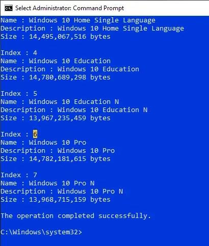 Convert-esd-to-wim-find-index-number