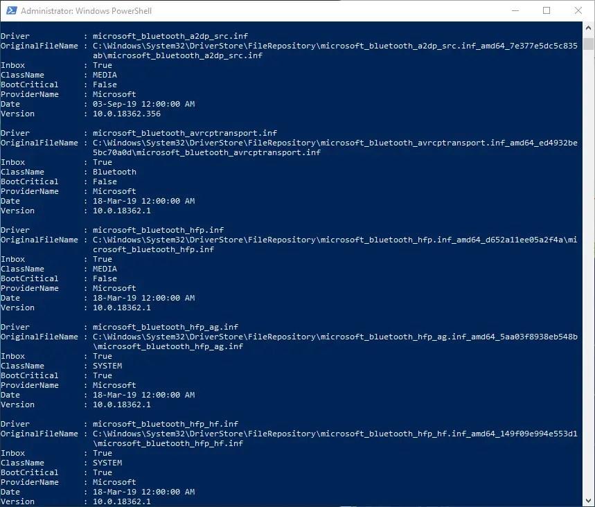 Powershell-command-driver-list-windows-cmd-output