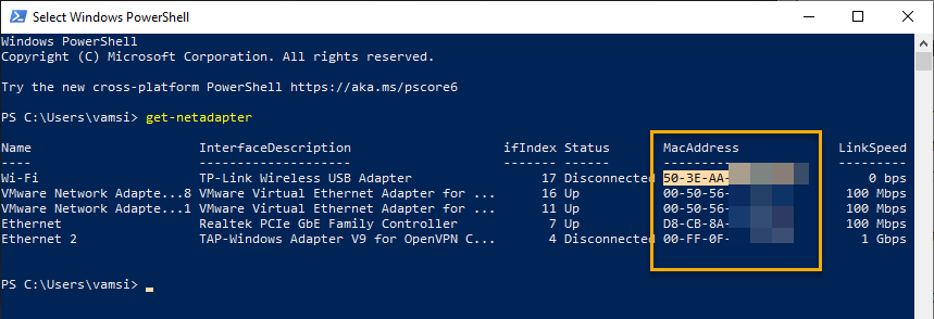 Windows-10-mac-address-powershell-cmd