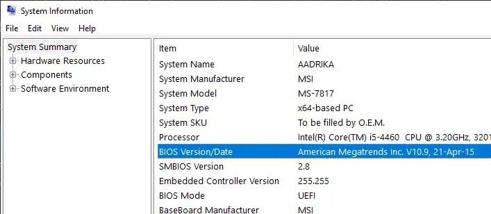 Find-bios-uefi-version-windows-sysinfo-info