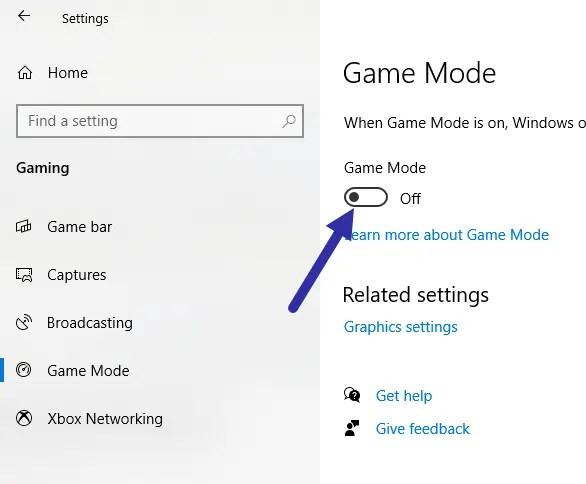 Windows 10 game mode - disable