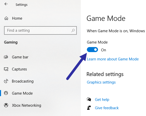 Windows 10 game mode - enable